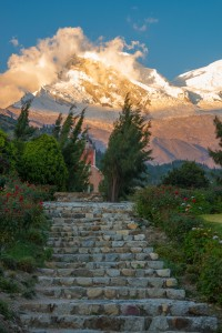 Sacred grounds of Yungay and snow-capped Huascar‡n during sunset, Peru