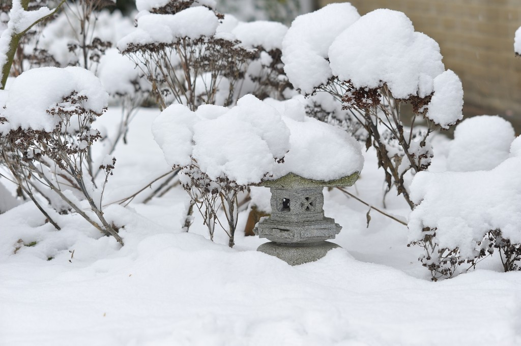 Snow-topped Japanese lantern