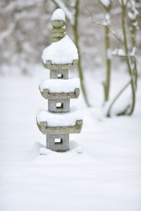 Japanese pagoda in snow
