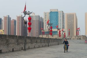Biking on City Wall Xian