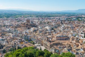 Aerial view of Granada Cathedral and city of Granada