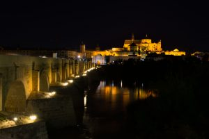 Mezquita and Roman bridge in Cordoba by night